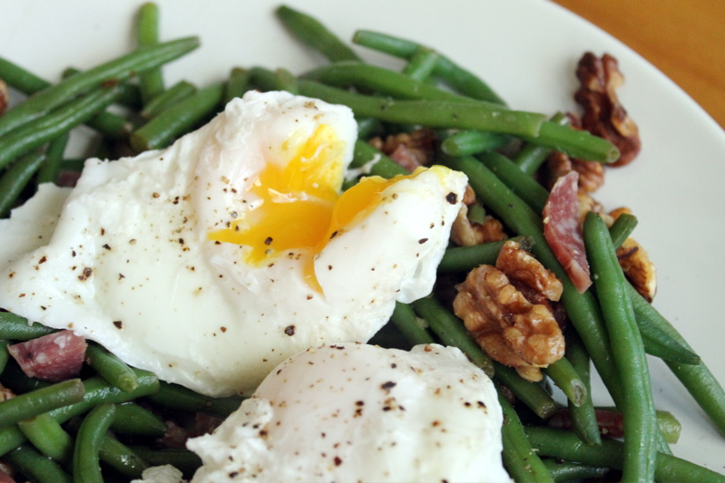 green beans poached egg